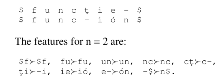 Alignment between Romanian and Spanish words for 'function'