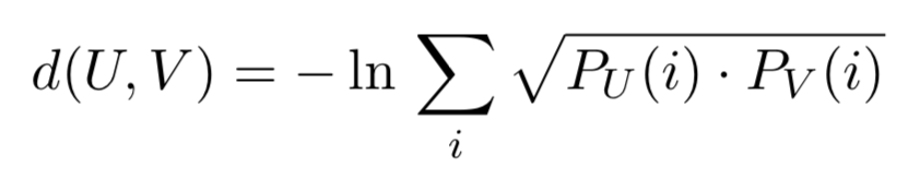 Bhattacharya distance formula